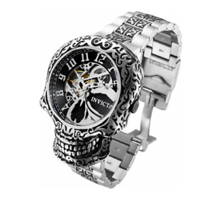Invicta Collectors 50mm Artist Skull Case Automatic Skeletonized Dial SS Watch