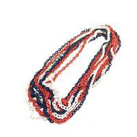 "VINTAGE Triple Chain ENAMEL NECKLACE Red White Blue PATRIOTIC 50"" LONG!"