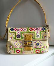 Fendi Embroidered Floral Mirror Exotic Snake Skin Baguette Bag Limited Edition