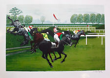 "PIERRE CHARLES BAYLE ""The Steeplechase"" Hand Signed L/E Lithograph Horse Racing"