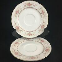 Set of 2 VTG Saucers Plates Royal Crown RCW31 Fine China Floral Bouquet Japan