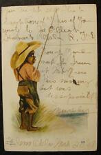 1905 BLACK AMERICANA POSTCARD-BLACK BOY CATCHING FISH ON CANE POLE