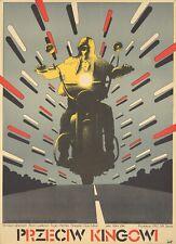 Original Vintage Poster Polish Film Against King 1975 Motorcycle