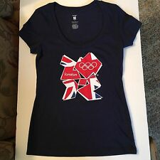 OFFICIAL LONDON 2012 OLYMPIC GAMES Ladies Blue Tee Shirt Cap Sleeves SIZE SMALL