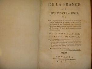 1787 J. P. Brissot de Warville, Etienne Claviere De la France et des Etats-Unis