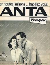 PUBLICITE ADVERTISING 084  1963  ANTA   TERGAL  impérmébles vetements de pluie
