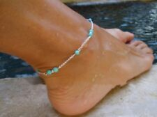 "Anklet Turquoise Blue Bead Anklet 9 - 11"" Long Silver Tone Chain 925 necklace"