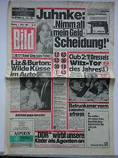 Bild Zeitung 1.3.1982, Harald Juhnke, Liz Taylor, Richard Burton, Beatrix kommt