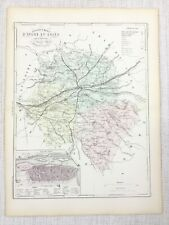 1881 Antique French Map Tours Indre-et-Loire France Hand Coloured Engraving
