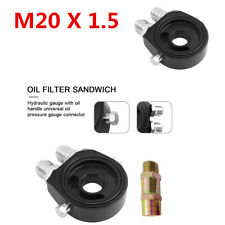 Aluminum Alloy Oil Filter Sandwich Re Locator Plate Adapter3 / 4-16 UNF/ M20x1.5