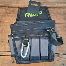 NEW AWP Mini Electrician Construction Nylon Tool Pouch With Pockets Metal Clip