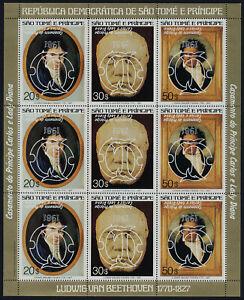 St Thomas & Principe 617 Sheet MNH Beethoven, Charles & Diana, Inverted Gold o/p