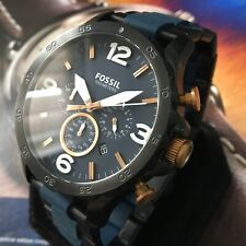 Mens Fossil Designer Watch NATE JR1494 Chronograph Steel Blue Black Genuine