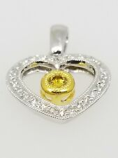 Diamond Heart Pendant 18K White and Yellow Gold with 0.23 carat Diamonds