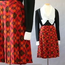 Authentic Vintage CELINE Paris orange plaid ARGYLE 100% silk dress skirt Sz. 44