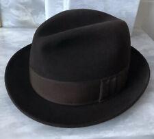 "Vintage Italian Trilby Hat Fedora Albertini Brown - 56 Label (measures 54cm 21"")"