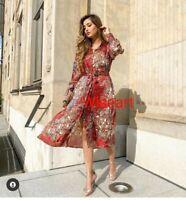 Zara Flowing Printed Shirt Dress Midi Red/Ecru Size XS 6 2021 New