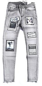 Laulia Damen Jeans Boyfriend Baggy grau Patch Hose Stretch Skinny