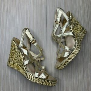 Michael Kors Gold Strap Espadrille Wedges Womans Size 9.5