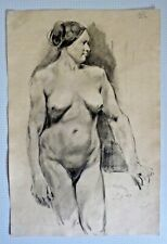 1848 Drawing of a Nude Model by Clement-Auguste Andrieux (1829-1881)
