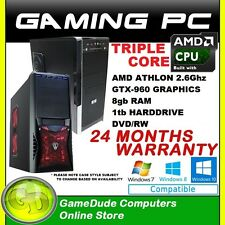 AMD Triple Core 2.6Ghz Gaming PC Computer 8GB ram 1tb HDD nVidia GTX-960 Graphic