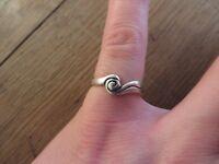 Wundervoller 925 Silber Ring Unisex Spirale Muschel Wirbel Nether Matt Glänzend
