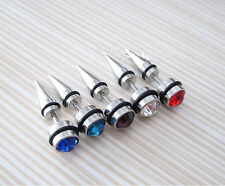 Crystal Stainless Steel Round Spike Screw Cool Mens Ear Stud Earring 2pcs