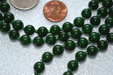 Energized Green Nephrite Jade Knotted Beads Japa Mala Necklace for Heart Chakra