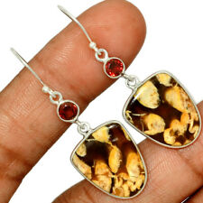 Australian Peanut Wood (Petrified Wood) & Garnet 925 Silver Earrings AE159058