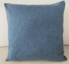 Grey-Blue Solid Double Sided Linen Look Cushion Cover 45cm