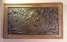 Framed Art Nouveau Bas Relief Repoussé Metal Picture~Christ w/ Lilies~ca 1890