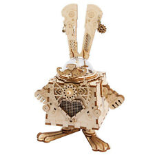 3D Wooden Robot Rabbit Assembly Puzzle Steampunk Bunny Music Box Kit Hands Craft