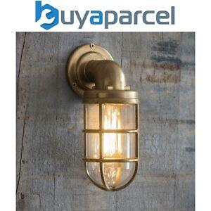 Garden Trading Brass Devonport Cage Down Light Nautical Mains Garden Wall Light