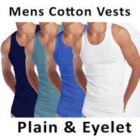 3x Mens Summer Vests Cotton Tank Top Gym Training Lot Eyelet Vest Size S M L XL