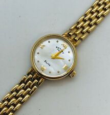 """9ct yellow gold mother of pearl Rotary Elite bracelet watch 6 3/4 """" long 11.66 g"""