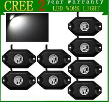 """8X 2"""" 3-CREE 9W LED Rock Light for Jeep Truck SUV Offroad Boat 4WD Bright White"""