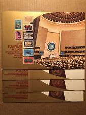1 UN 1978 SOUVENIR FOLDER + 3 GENEVA FOLDERS (2 HAVE NY & GEN. STAMPS FD CANCEL)