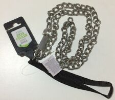 1,2m Metal Dog Chain (upto 100kg) Lead & Clip Black Reinforced Fabric Handle NEW