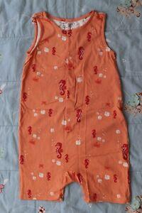 Lindex Scandi Summer Dungarees Playsuit Orange Red Seaside Crab Seahorse 104 3 4