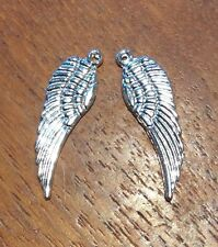2x Angel Wing Rockabily Silver Coloured Craft Charms