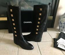 Iconic Chanel Vintage 'Rare' HTF Black Turnlock CC Riding Boots   5  35   $2695