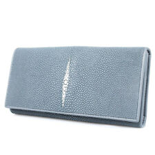 Genuine Stingray Leather Women Card ID Holder Long Wallet Clutch Purse KTM Grey