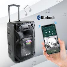 "Portable PA Karaoke Bluetooth Speaker w 12"" Subwoofer Sound Mic DJ Lights FM"