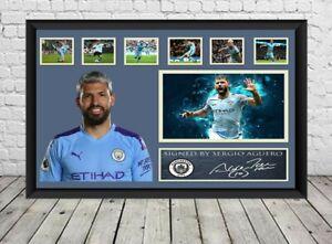 Sergio Aguero Signed Photo Manchester City Poster Football Memorabilia
