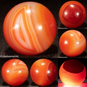 """HAND FACETED 7/8""""+ Banded AGATE Shooter ANTIQUE Marble Mint- hawkeyespicks sg"""