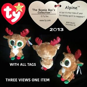TY ALPINE HOLIDAY REINDEER FROM THE BEANIE BOO'S SERIES RELEASED 2013 RETIRED.