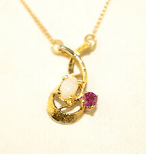 VINTAGE GOLD FILLED 15.5 INCH LONG OPAL & PINK SAPPHIRE NECKLACE