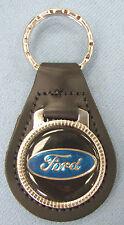 Vintage Black FORD OVAL logo Black Leather Chrome Keyring Key Fob w/blue
