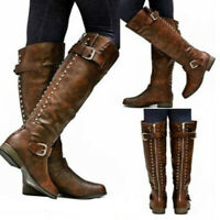 Womens Round Toe Low Heel Studded Mid-Calf Knee High Casual Boots Shoes Size