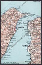 MESSINA REGGIO CALABRIA GANZIRRI SCALETTA SCILLA ecc.CARTINA topografica ca 1920